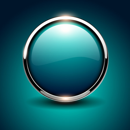 Illustration pour Shiny button blue glossy metallic, vector illustration - image libre de droit