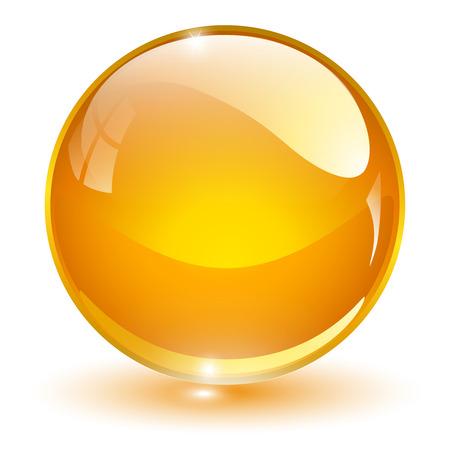 Ilustración de Glass sphere, orange vector ball. - Imagen libre de derechos