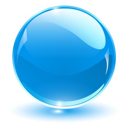 Ilustración de Glass sphere, blue vector ball. - Imagen libre de derechos