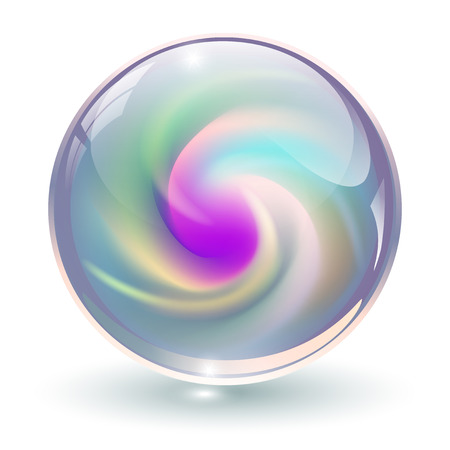 Illustration pour 3D crystal, glass sphere with abstract spiral shape inside, vector illustration. - image libre de droit