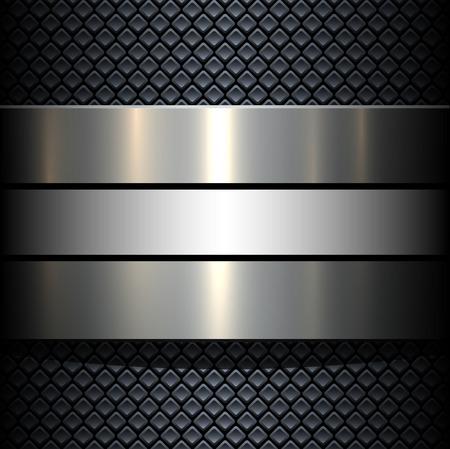 Illustration pour Background 3d metallic banner on seamless grey pattern, vector illustration. - image libre de droit