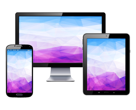 Ilustración de Electronic devices set - tablet, smartphone and  monitor, vector illustration. - Imagen libre de derechos