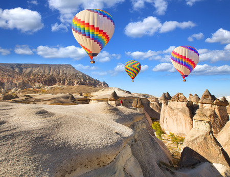 Photo for Hot air balloon flying over rock landscape at Cappadocia Turkey. - Royalty Free Image
