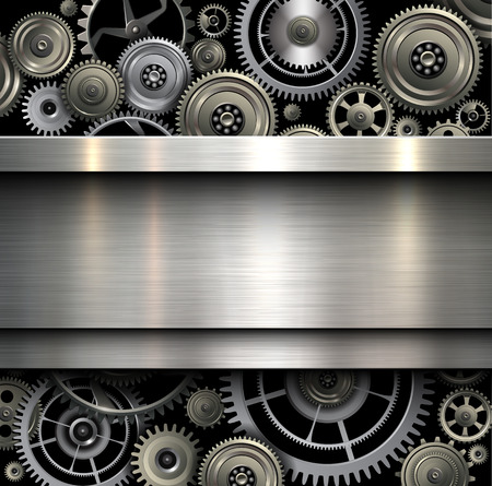 Photo pour Background metallic with technology gears, vector illustration. - image libre de droit