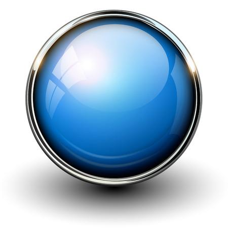 Ilustración de Blue shiny button with metallic elements, vector design for website. - Imagen libre de derechos