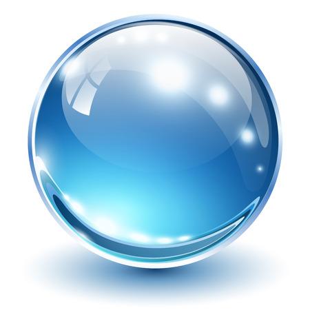 Ilustración de 3D glass sphere blue, vector illustration. - Imagen libre de derechos