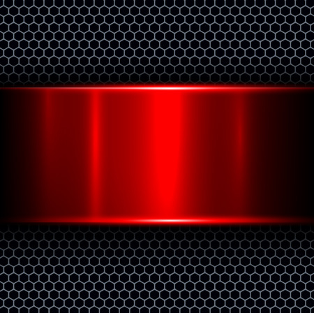 Foto de Abstract background with red metal texture banner, vector illustration. - Imagen libre de derechos