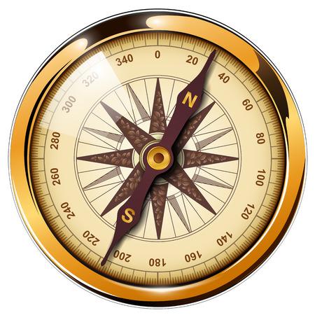 Ilustración de Compass with windrose isolated, retro vector design. - Imagen libre de derechos