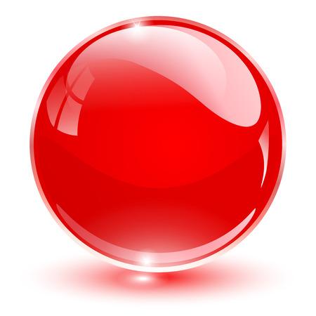 Ilustración de Glass sphere, red vector ball. - Imagen libre de derechos