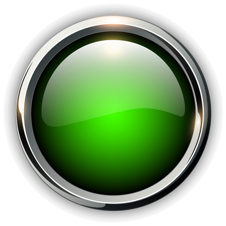 Illustration for Green shiny button with metallic elements, vector design for website. - Royalty Free Image