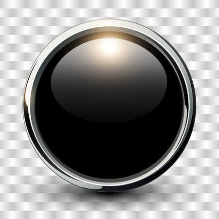 Illustration pour Black shiny button with metallic elements, vector design. - image libre de droit