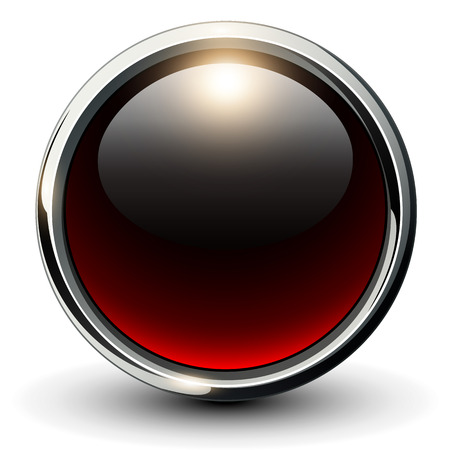 Illustration pour Red shiny button with metallic elements, 3D vector design - image libre de droit