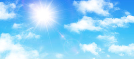 Illustration pour Sunny background, blue sky with white clouds and sun, vector illustration. - image libre de droit
