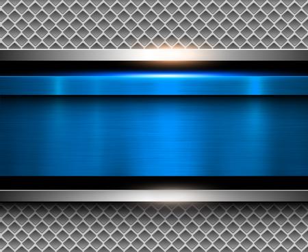 Illustration pour Background metallic blue with brushed metal texture, vector illustration. - image libre de droit