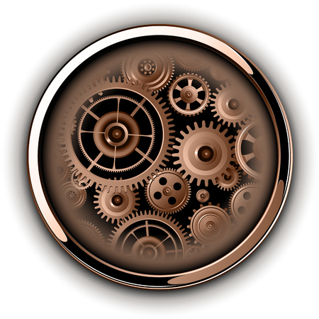 Illustration pour Buttons shiny, chrome metallic with machinery cog gears inside, vector illustration - image libre de droit