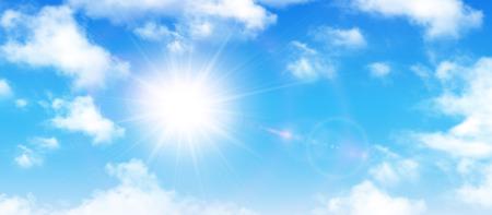 Illustration pour Sunny background, blue sky with white clouds and sun, vector illustration. - image libre de droit