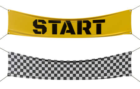 Photo pour Starting and finishing checkered line banners. - image libre de droit