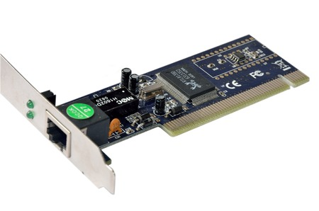 Foto de Dark blue network interface card with RJ45 connector - Imagen libre de derechos