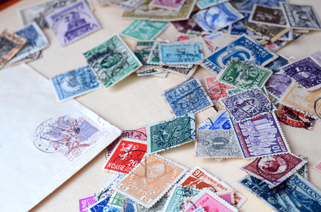 Foto de Collection of old postage stamps close-up detail - Imagen libre de derechos