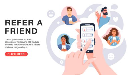 Illustration pour Refer a friend concept. Hands holding phone with contacts of friends. Business partnership strategy with group of people. Social communication, loyalty program, social media marketing for friends. Landing page template. Vector. - image libre de droit