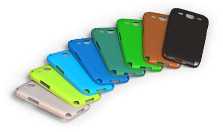 Photo pour Mobile phone cases isolated on white - image libre de droit