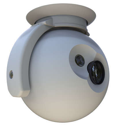 Foto de Surveillance camera with mount isolated on white - Imagen libre de derechos