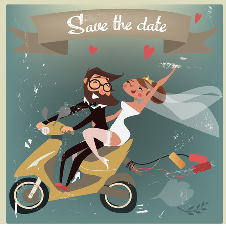Photo pour wedding couple on scooter - image libre de droit