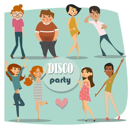 Illustrazione per set with dancing people - Immagini Royalty Free