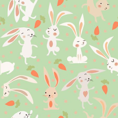 Illustration pour seamless pattern with cute hares - image libre de droit