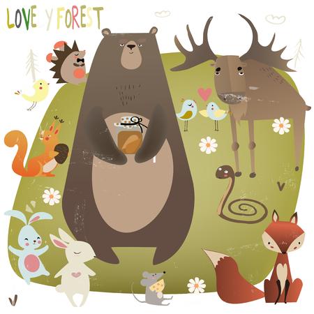 Illustration pour set with wild animals - image libre de droit