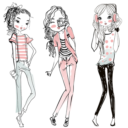 Ilustración de cute fashion cartoon girls in sketchy style - Imagen libre de derechos