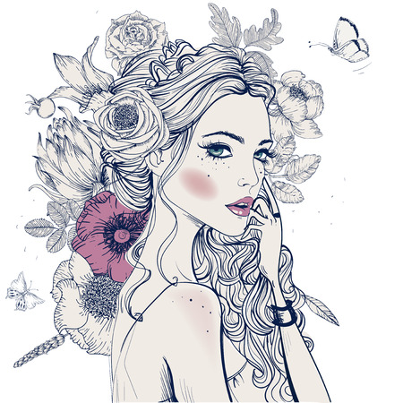 Illustration pour portrait of young beautiful woman wirh flowers - image libre de droit