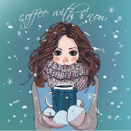 Ilustración de portrait of cute winter cartoon  girl with coffee cup - Imagen libre de derechos