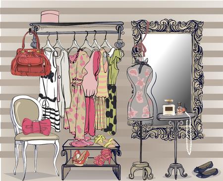 Illustration pour colorful interior vector illustration with women wardrobe - image libre de droit