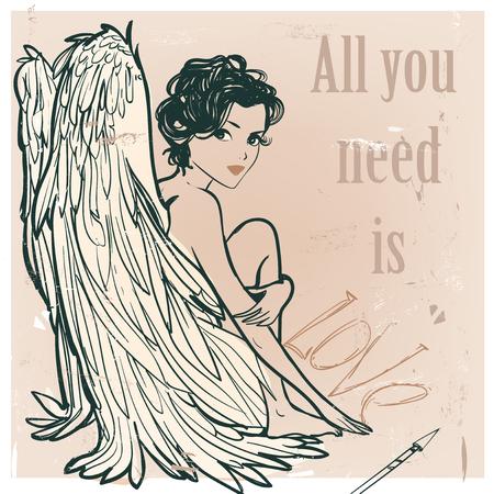 Ilustración de Angel girl with white wings. vector illustration - Imagen libre de derechos
