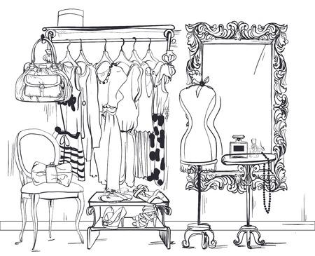 Ilustración de colorful interior vector illustration with women wardrobe - Imagen libre de derechos