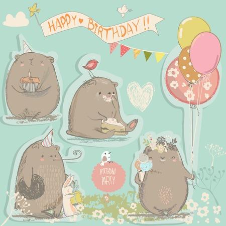 Ilustración de birthday vintage set with cute cartoon bears - Imagen libre de derechos