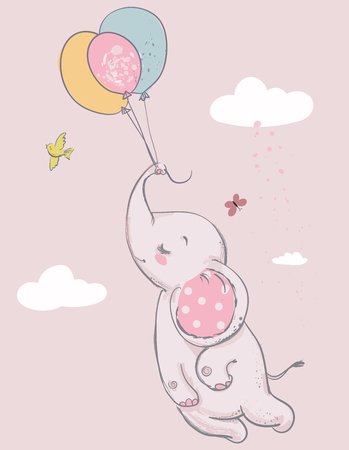 Illustration pour Cartoon cute elephant with balloons - image libre de droit
