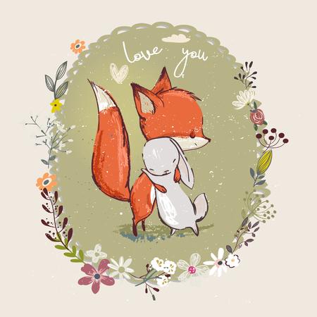 Illustration pour Cute little hare with fox - image libre de droit
