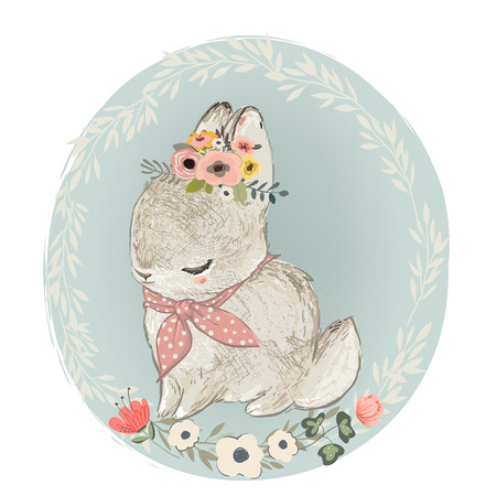 Illustration pour Cute Hare with Floral Wreath - image libre de droit
