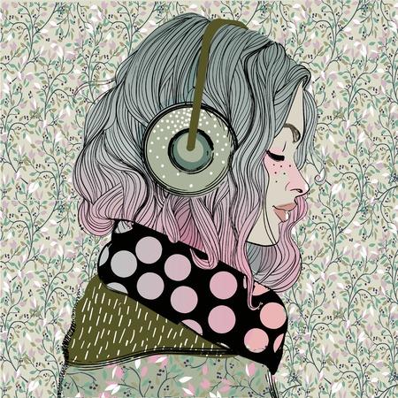 Illustrazione per beautiful girl with headphones - Immagini Royalty Free