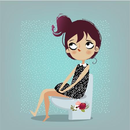 Ilustración de cute cartoon girl - Imagen libre de derechos
