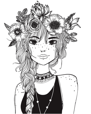 Illustration pour portrait of a young woman with long hair and flowers all over her hair - image libre de droit