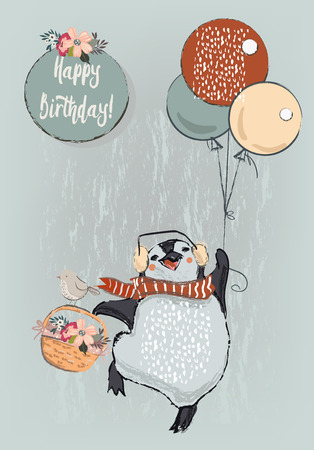 Illustration pour cute penguin with balloons - image libre de droit