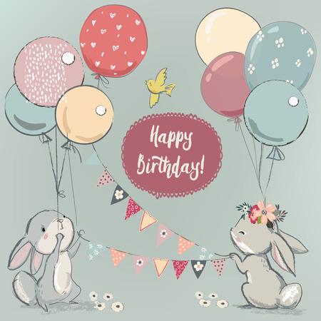 Illustration pour cute hares with balloons - image libre de droit