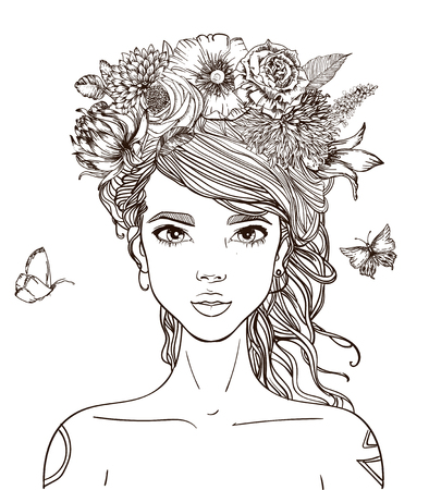 Illustration pour young beautiful woman with flowers - image libre de droit