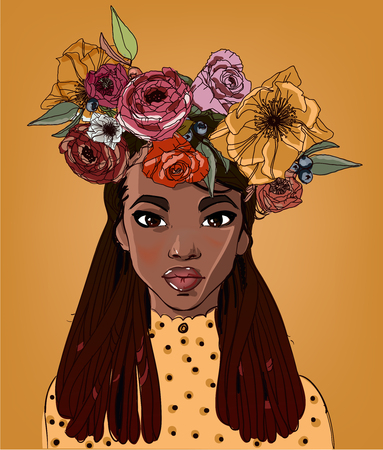 Illustration pour young beautiful african woman with flowers - image libre de droit