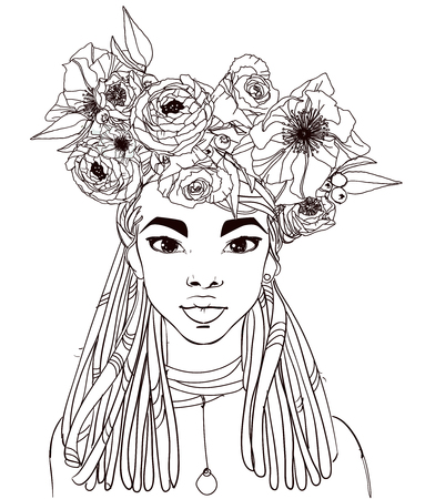 Illustration pour young beautiful african woman with flowers - image libre de droit