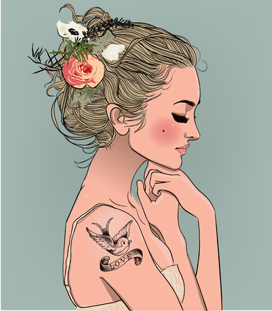 Illustration pour Young beautiful woman. - image libre de droit