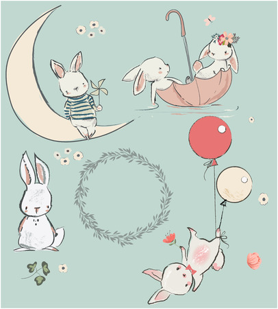 Illustration pour set with cute white hares. vector illustration - image libre de droit